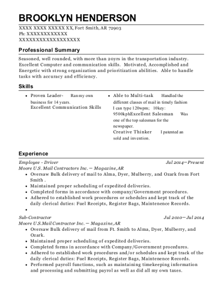 Moore Us Mail Contractors Inc Employee Driver Resume Sample Fort
