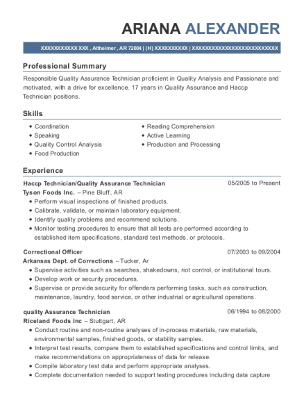 View Resume Haccp Technician