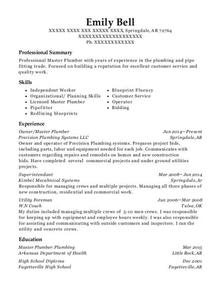 Master Plumber Resume Resume Example Plumbing Resume Examples - Plumbing resume examples
