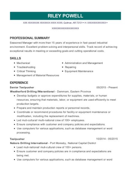 seadrill toolpusher resume sample andalusia alabama resumehelp