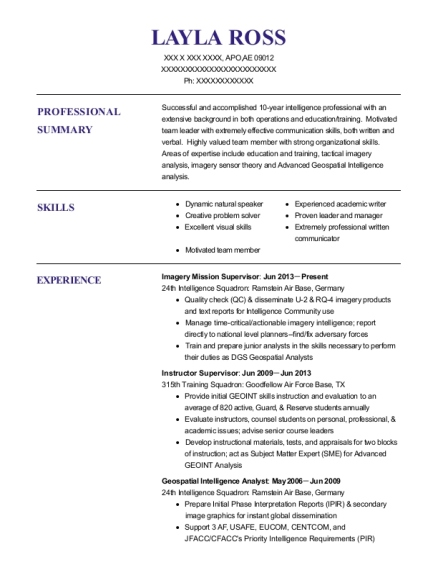 View Resume. Imagery Mission Supervisor