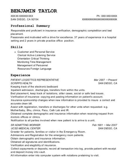 Best Admitting Representative Resumes | ResumeHelp