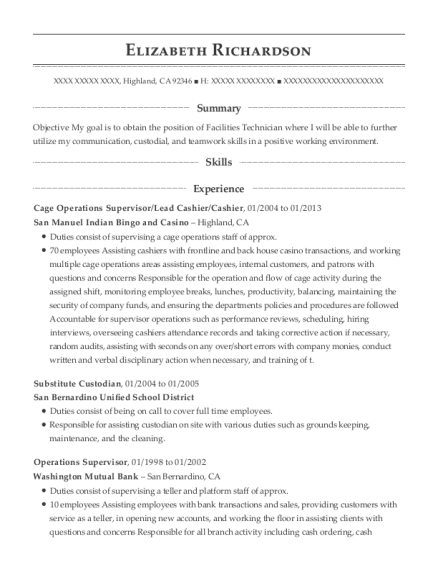 View Resume Cage Operations Supervisor