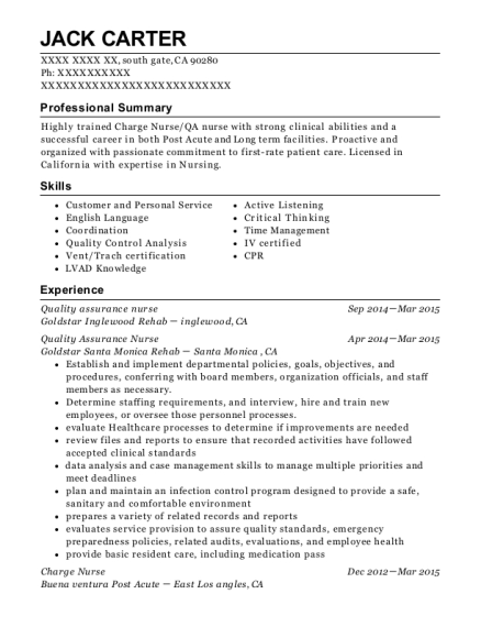 view resume quality assurance nurse