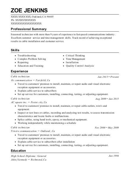 best cable technician resumes resumehelp