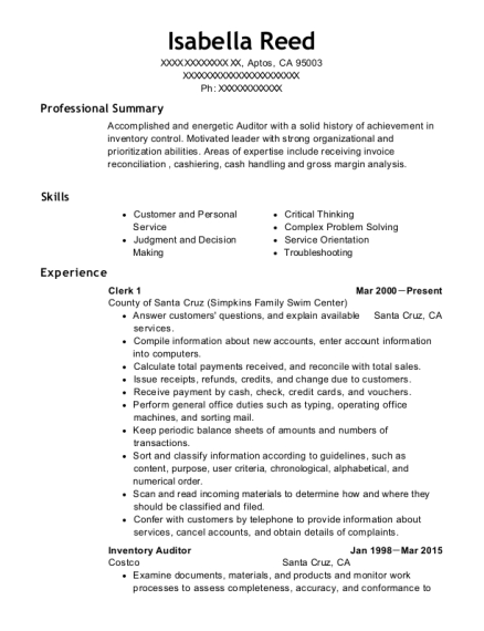 Rgis Inventory Services Auditor Resume Sample