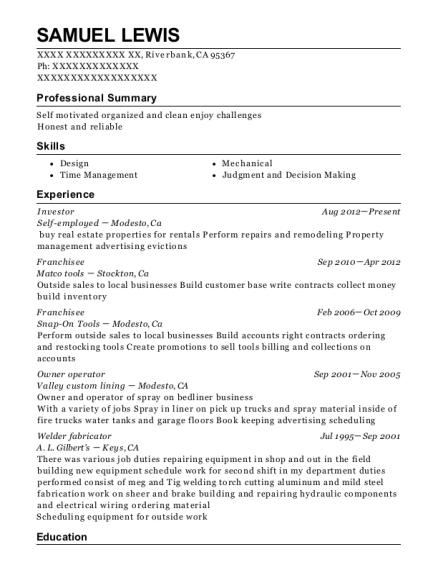 self employed investor resume sample