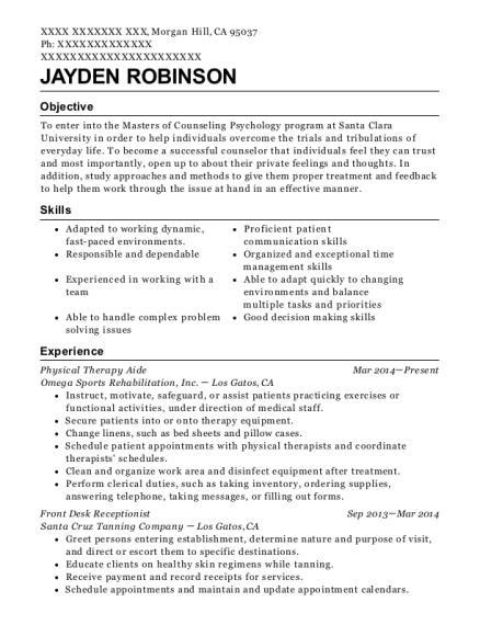 People Also Search For. Customize Resume · View Resume. Physical Therapy  Aide