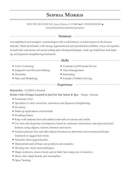 Sophia Morris   Hair Stylist Assistant Resume  Hair Stylist Resume Objective