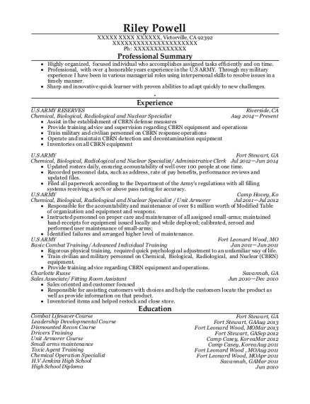 Us Army Reserves Chemical Resume Sample - Victorville California ...