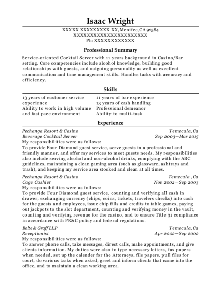 pechanga resort casino beverage cocktail server resume sample