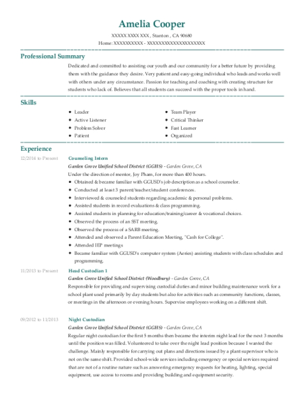 view resume - School Custodian Resume