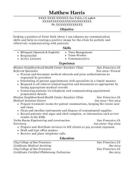 Matthew Harris  Medical Assistant Externship Resume