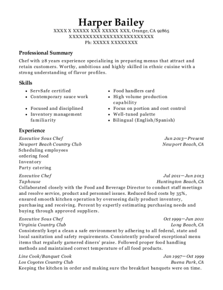 executive sous chef line cook customize resume view resume - Executive Sous Chef Resume