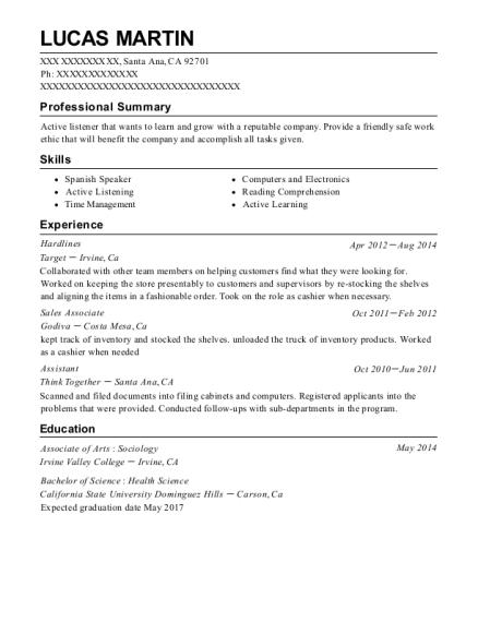 target hardlines resume sample victorville california resumehelp