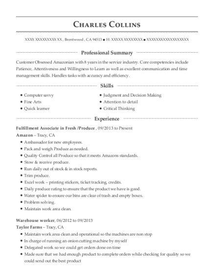 amazon fulfillment center fulfillment associate resume