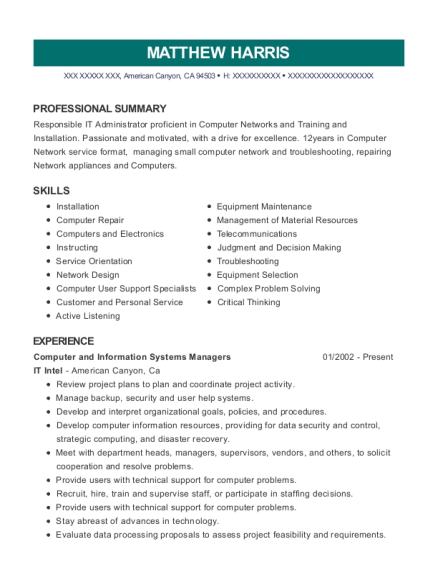 It Intel Computer And Information Systems Managers Resume Sample ...