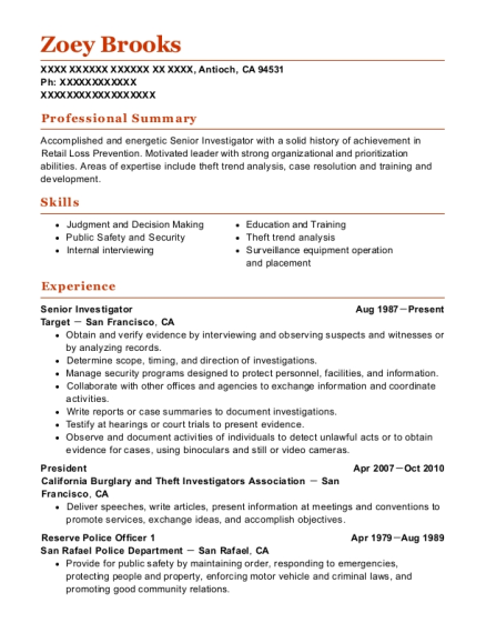 View Resume. Senior Investigator