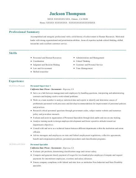 View Resume. Personnel Supervisor I