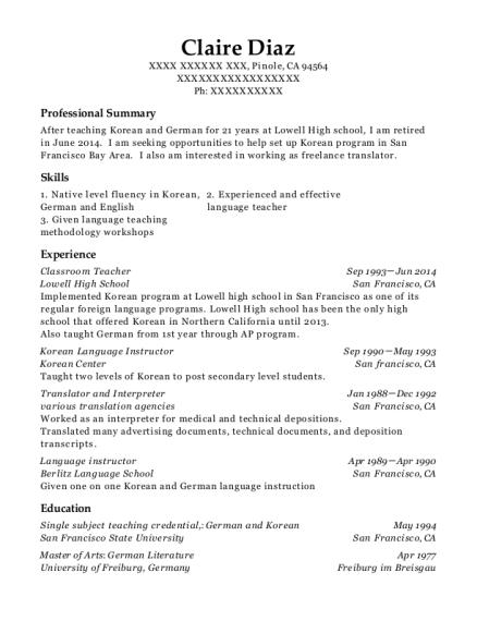 best korean language instructor resumes resumehelp