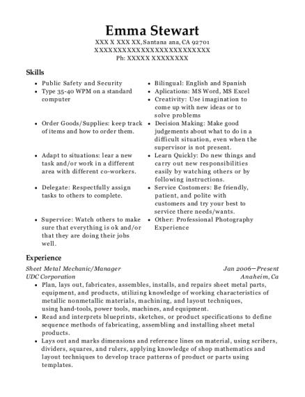 L 3 Communications Sheet Metal Mechanic Resume Sample