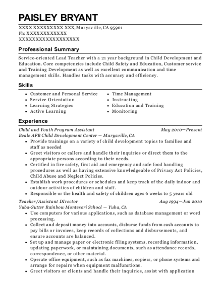 Best Child And Youth Program Assistant Resumes | ResumeHelp