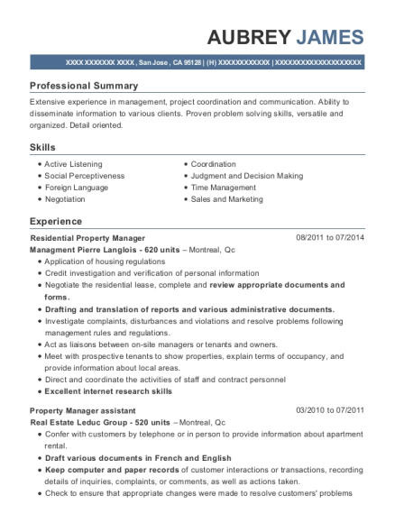 View Resume Residential Property Manager
