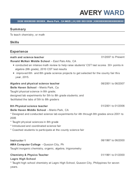 avery ward - Physical Science Teacher Resume