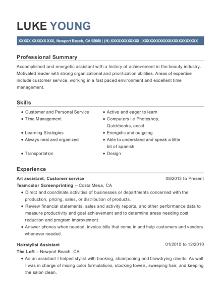 Best Hairstylist Assistant Resumes