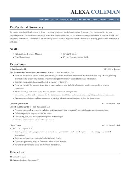 Best Clerk Typist Resumes In California Resumehelp