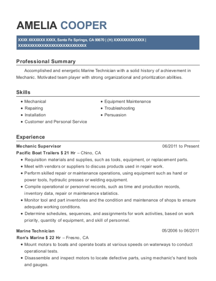 Marine Technician , Night Manager. Customize Resume · View Resume