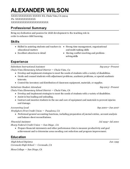Best Substitute Instructional Assistant Resumes Resumehelp