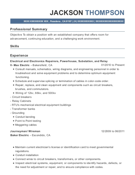 jackson thompson - Maintenance Electrician Resume