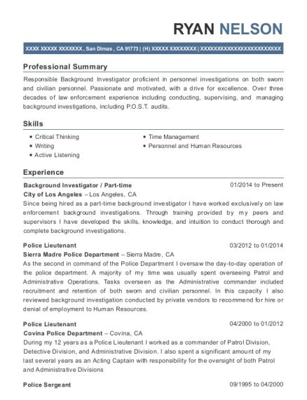 View Resume. Background Investigator ...