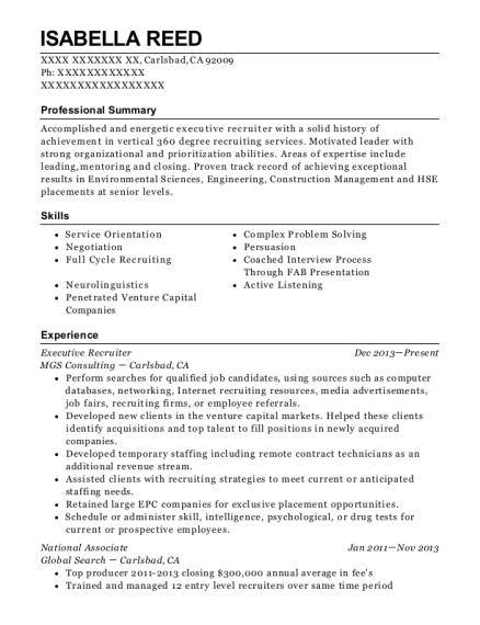 best executive recruiter resumes