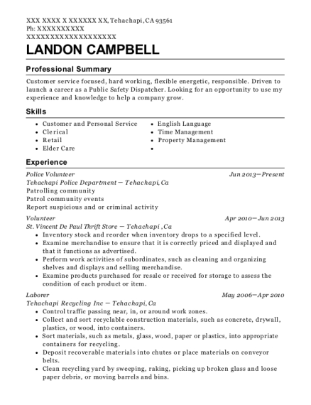 landon campbell - Police Volunteer Sample Resume