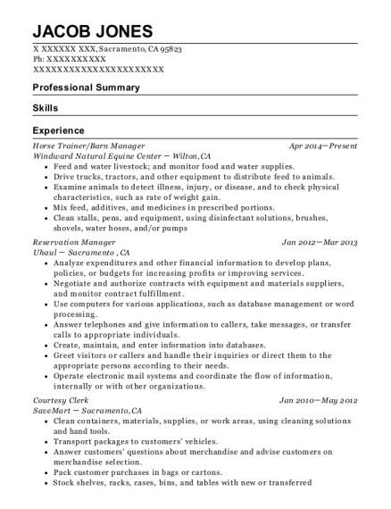 Self Employed Horse Trainer Resume Sample