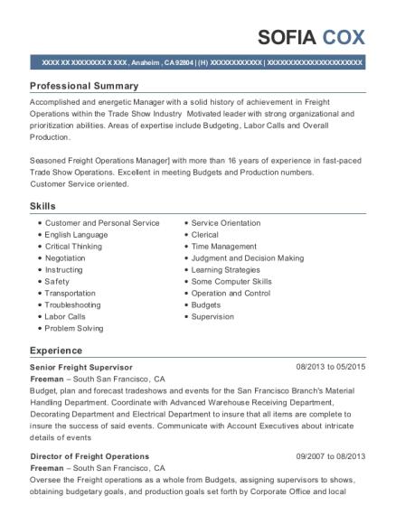 View Resume. Senior Freight Supervisor