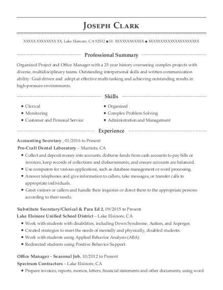 Best Accounting Secretary Resumes | ResumeHelp