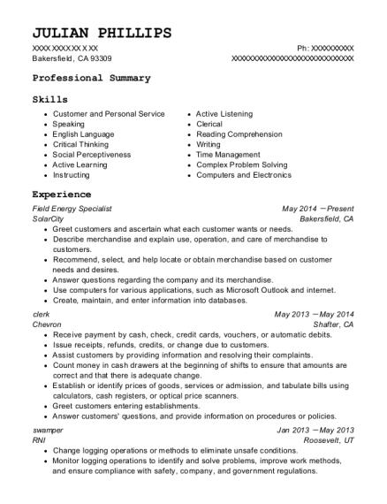 C.c. Forbes Swamper Resume Sample - Alice Texas | ResumeHelp