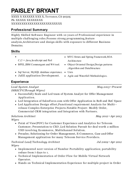 directvthrough wipro lead system analyst resume sample torrance