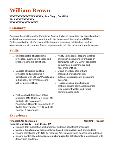 National University Financial Aid Technician Resume Sample - San ...