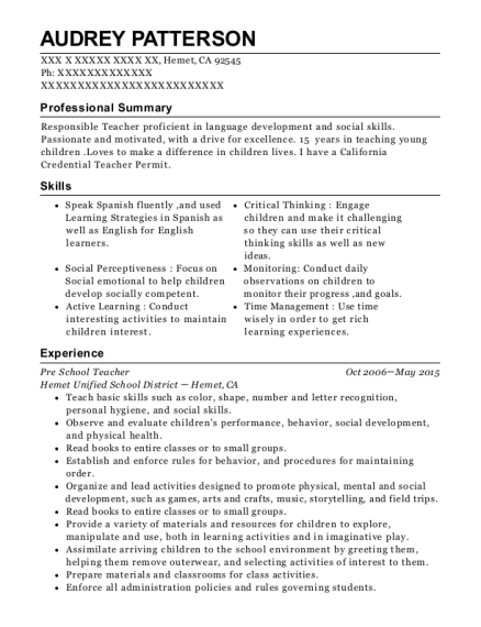 View Resume. Pre School Teacher
