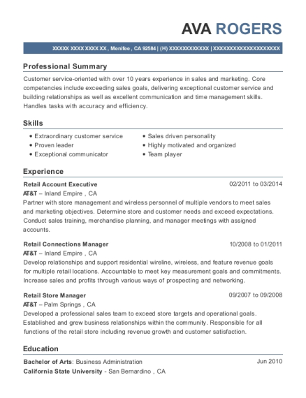 Att Retail Account Executive Resume Sample Menifee California