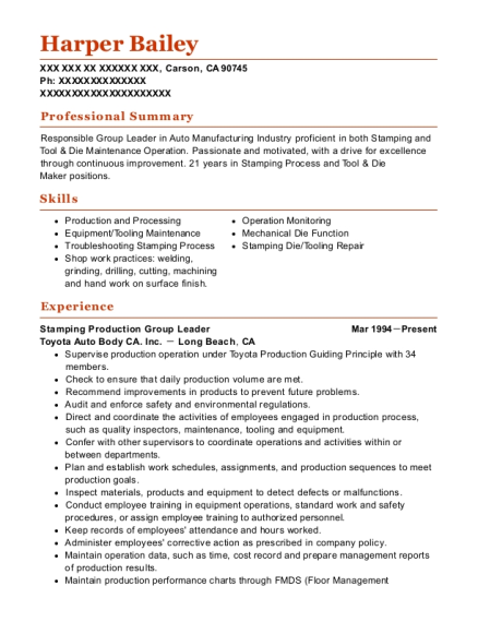 view resume stamping production group leader