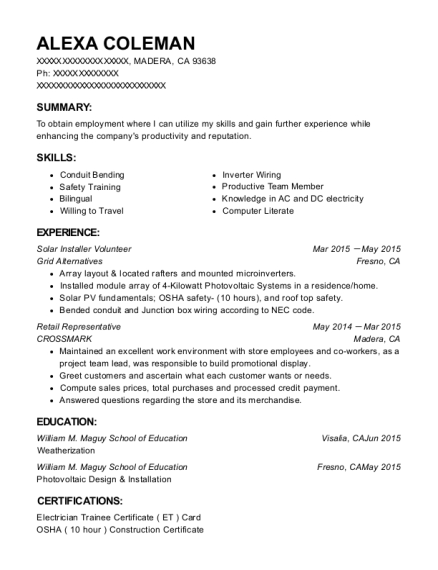 People Also Search For. Customize Resume · View Resume. Solar Installer  Volunteer