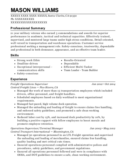 View Resume Freight Operations Supervisor