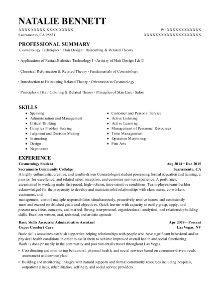 Best Cosmetology Student Resumes
