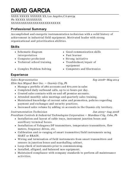 johnson controls inc instrumentation technician resume sample
