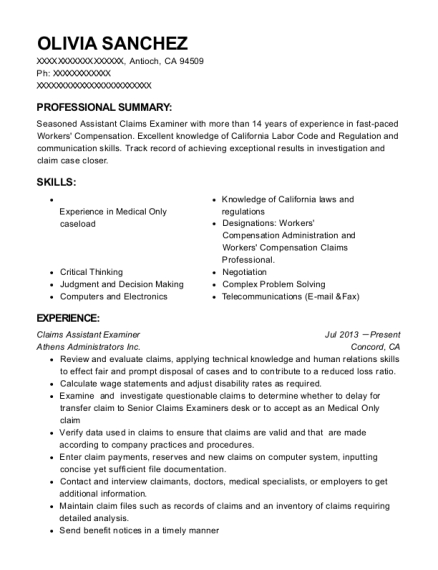 View Resume. Claims Assistant Examiner